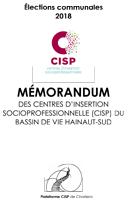 Mémorandum des Centres d'insertion socioprofessionnelle CISP du Bassin Hainaut-Sud pour les élections communales 2018