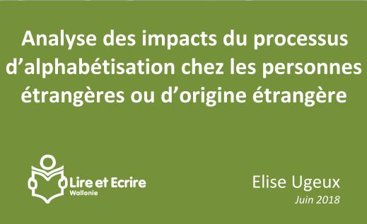 Analyse des impacts des actions d'alphabétisation auprès des personnes étrangères ou d'origine étrangère