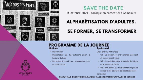 Save the date : Colloque « Alphabétisation d'adultes. Se former, se transformer »
